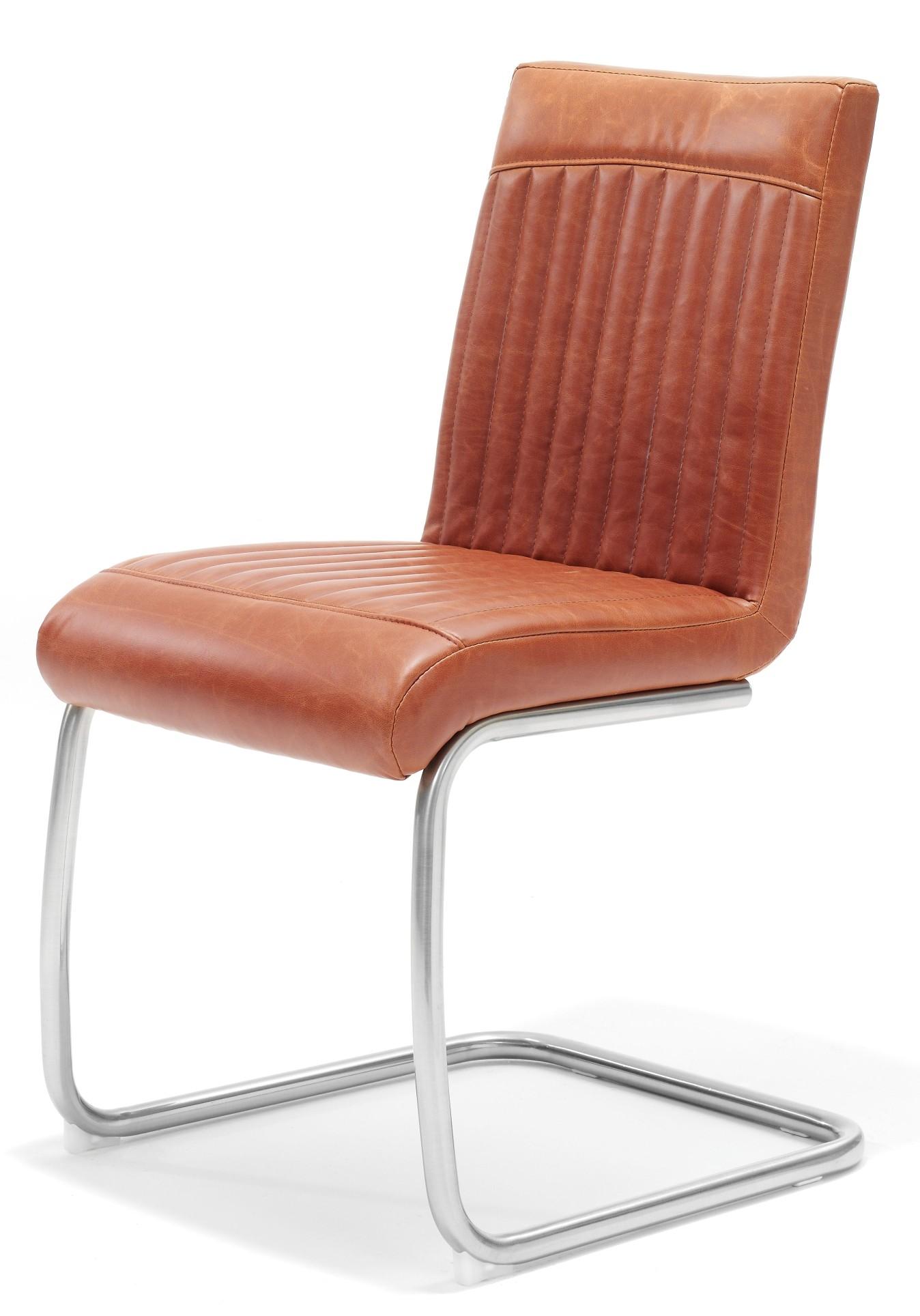 Image 24designs set van 2 stoelen braxton pu rvs cognac for Design 24 stoelen