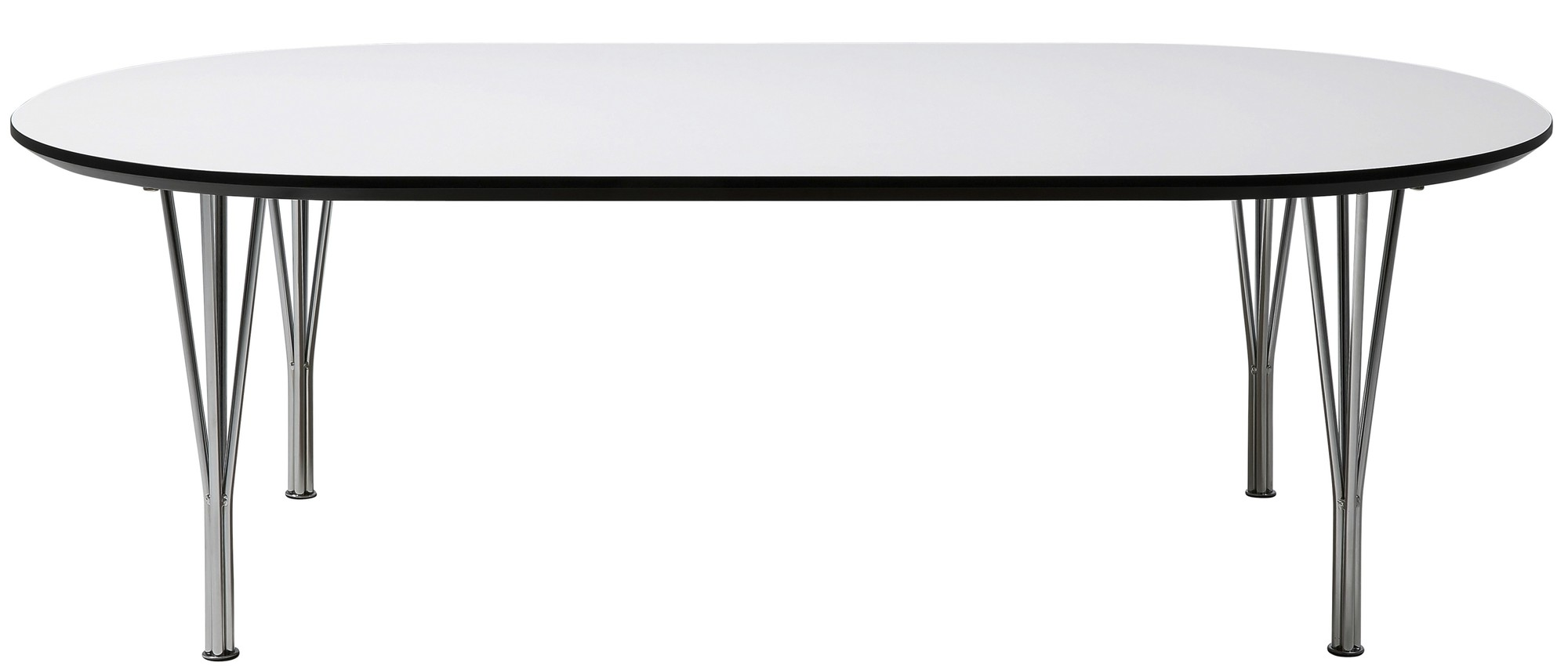 ... Tafel Weston L180 x B100 x H75 cm Wit HPL Tafelblad Chromen Poten