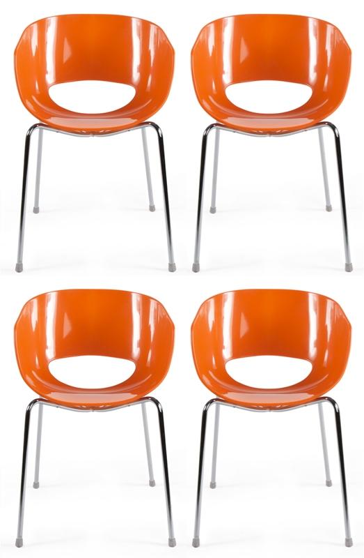Image 4 stoelen eggshell orbit oranje for Design stoel 24