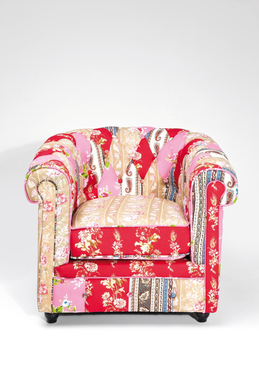 kare design fauteuil club patchwork red surprise multicolor in de aanbieding kopen. Black Bedroom Furniture Sets. Home Design Ideas