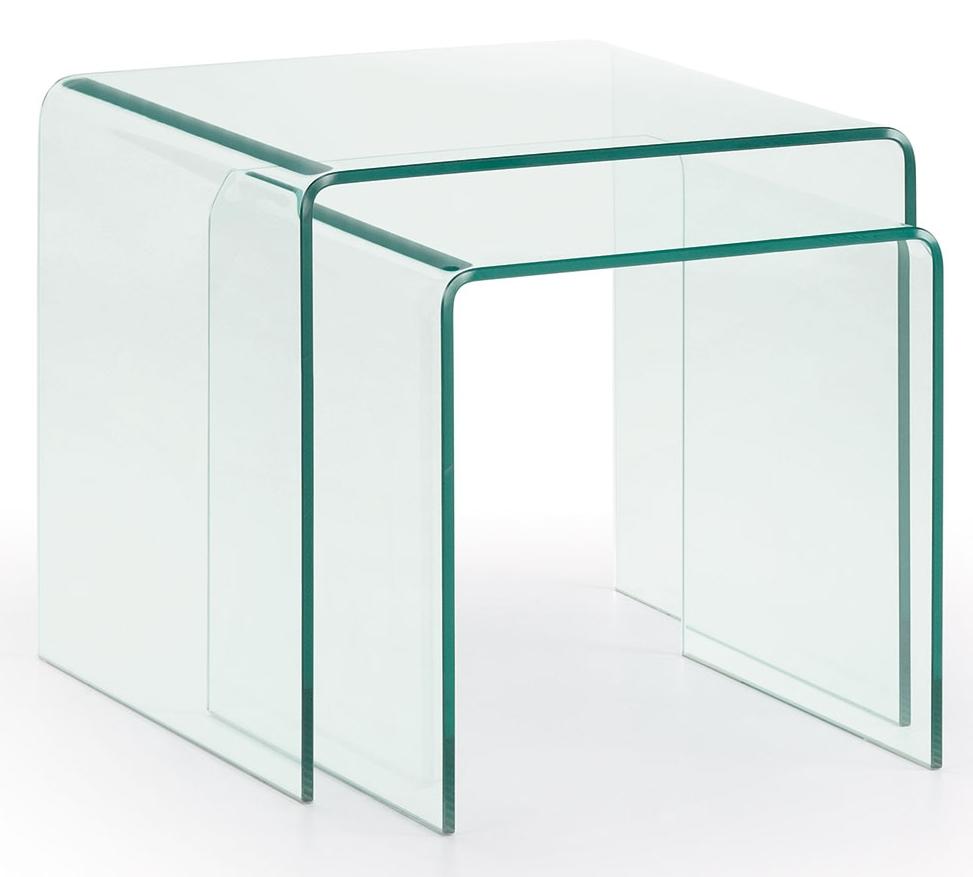 LaForma Set (2) Bijzettafels Burano - 50 x 45 cm - Glas