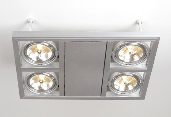 Linea Verdace Plafondspot Cool-4 Down Vierkant - Zilver - Verstelbare Halogeen Lamp
