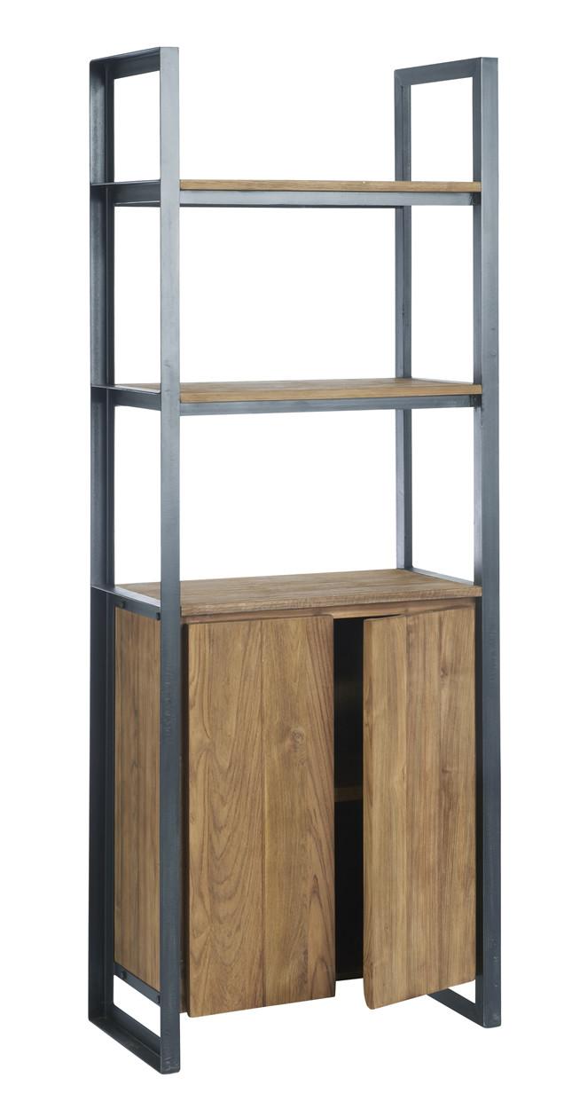 Dbodhi fendy locker kast 2 deurs l80 x b40 x h160 cm teakhout aanbieding kopen - Eigentijdse boekenkast ...