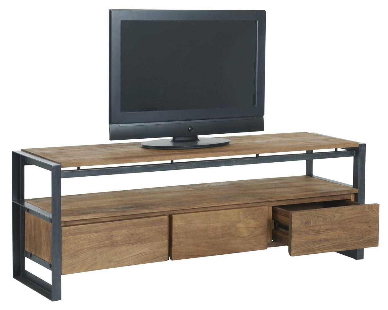 #644D3923651452 Bodhi Fendy TV Meubel 3 Laden L180 X B40 X H56 Cm Laag Teakhout Van de bovenste plank Houten Design Tv Meubel 3263 beeld 12509973263 Inspiratie