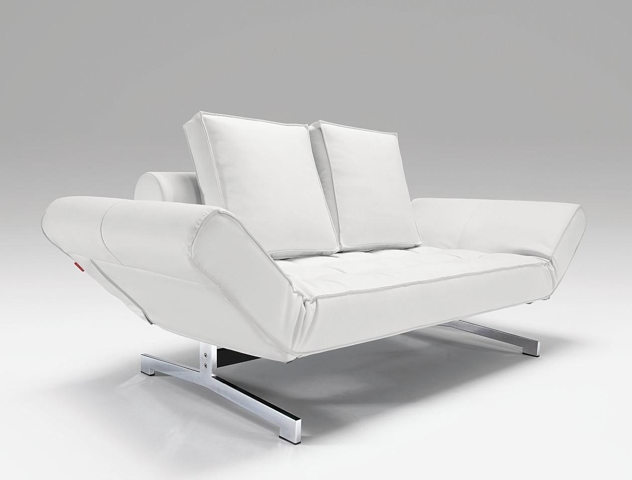 Innovation Slaapbank Ghia - Chroom - Leatherlook 588 - Wit