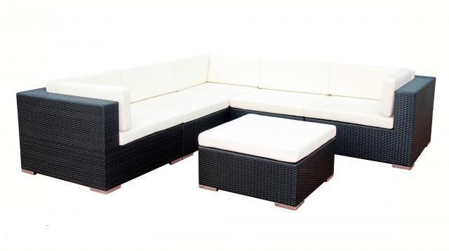 24designs loungeset garden beach zwart grijze kussens aanbieding kopen - Zwart design lounge en witte ...
