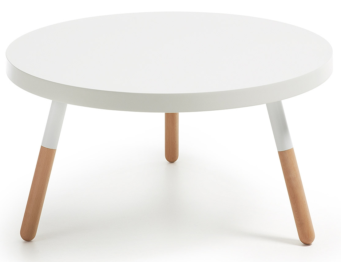Salontafel rond wit hout: tight white salontafel rond met boord wit
