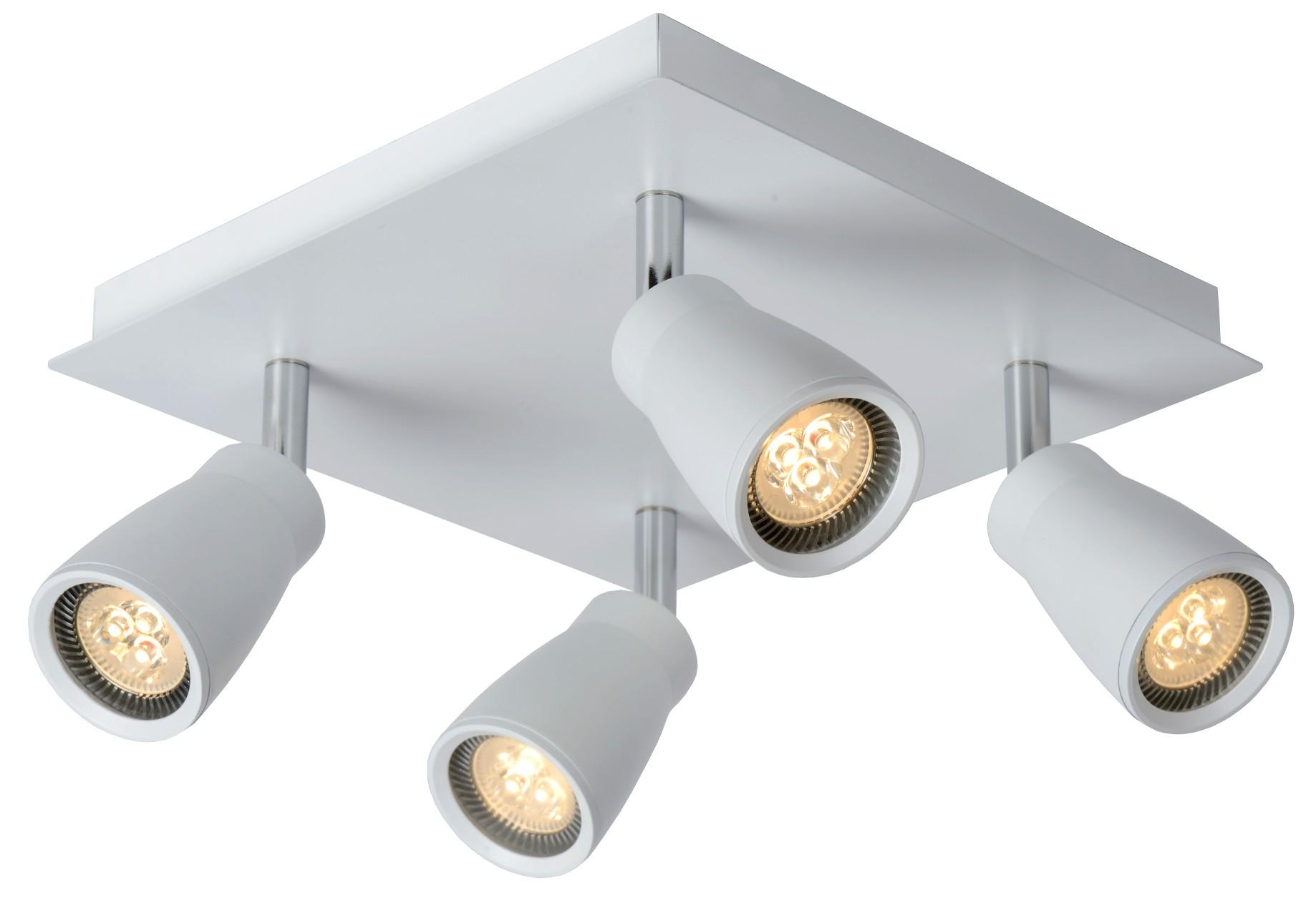 lucide plafondspot zett 4 dimbare led wit in de aanbieding. Black Bedroom Furniture Sets. Home Design Ideas