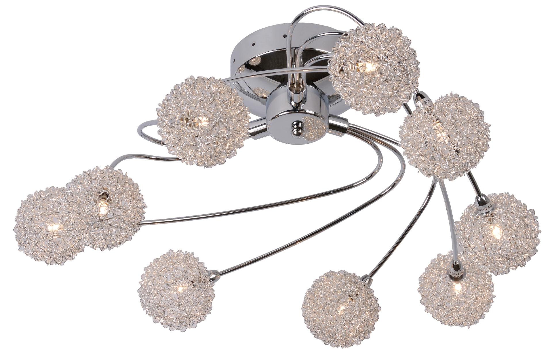 Lucide Plafondlamp Rhea - 9 x 20W - Ø68cm - H27.5cm - Chroom