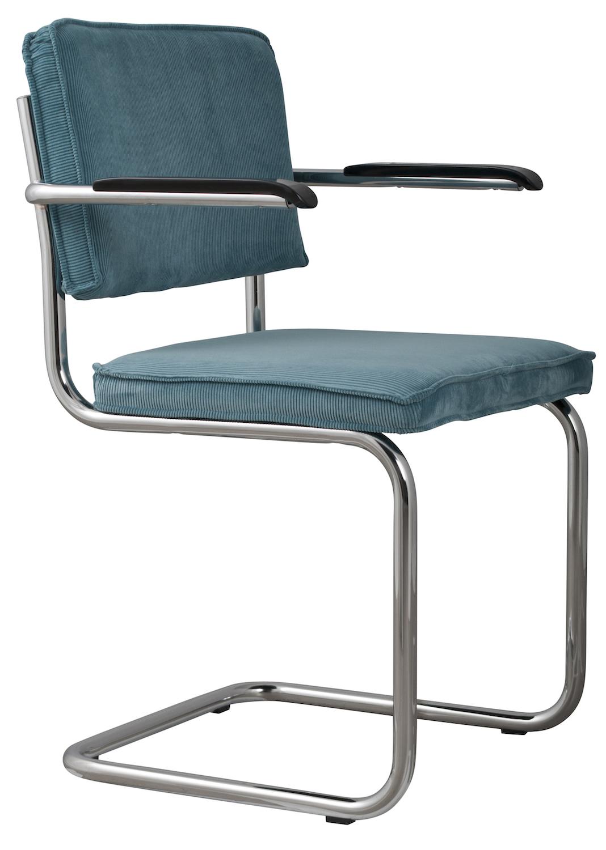 Zuiver stoel ridge rib armleuningen ijsblauwe ribstof for Design stoel 24